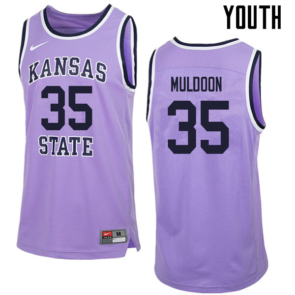 Youth #35 Patrick Muldoon Kansas State Wildcats College Retro Basketball Jerseys Sale-Purple